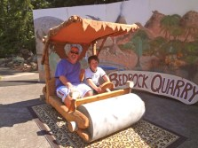 Posing in the Flintstone Mobile at the Rice Museum of Rocks and Minerals (3)